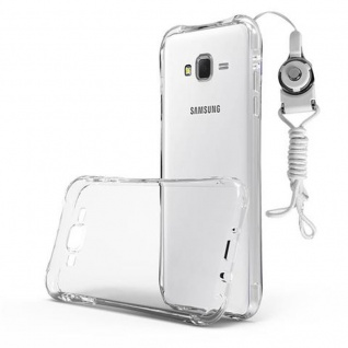 Cadorabo Hülle für Samsung Galaxy J7 2015 - Hülle in KOMPLETT TRANSPARENT ? Handyhülle aus TPU Silikon mit Schlaufe im Small Waist Design - Silikonhülle Schutzhülle Ultra Slim Soft Back Cover Case Bumper