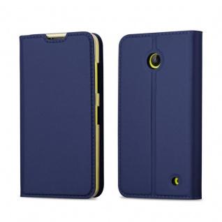 Cadorabo Hülle für Nokia Lumia 630 / 635 in CLASSY DUNKEL BLAU - Handyhülle mit Magnetverschluss, Standfunktion und Kartenfach - Case Cover Schutzhülle Etui Tasche Book Klapp Style