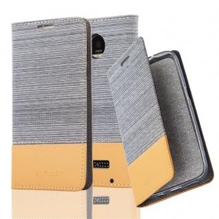 Cadorabo Hülle für Motorola MOTO Z PLAY in HELL GRAU BRAUN - Handyhülle mit Magnetverschluss, Standfunktion und Kartenfach - Case Cover Schutzhülle Etui Tasche Book Klapp Style
