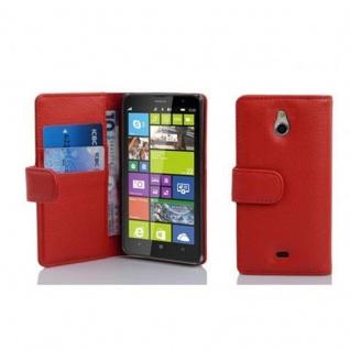 Cadorabo Hülle für Nokia Lumia 1320 in INFERNO ROT - Handyhülle aus strukturiertem Kunstleder mit Standfunktion und Kartenfach - Case Cover Schutzhülle Etui Tasche Book Klapp Style