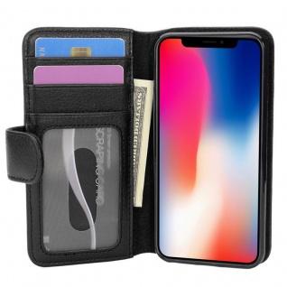 Cadorabo Hülle für Apple iPhone X / XS in OXID SCHWARZ ? Handyhülle mit Magnetverschluss und 3 Kartenfächern ? Case Cover Schutzhülle Etui Tasche Book Klapp Style - Vorschau 3