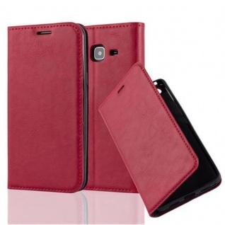 Cadorabo Hülle für Samsung Galaxy J3 2016 in APFEL ROT - Handyhülle mit Magnetverschluss, Standfunktion und Kartenfach - Case Cover Schutzhülle Etui Tasche Book Klapp Style
