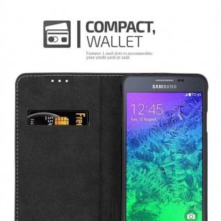 Cadorabo Hülle für Samsung Galaxy ALPHA in GOLD SCHWARZ ? Handyhülle mit Magnetverschluss, Standfunktion und Kartenfach ? Case Cover Schutzhülle Etui Tasche Book Klapp Style - Vorschau 5
