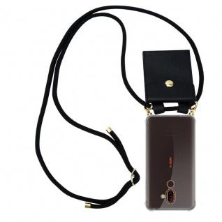 Cadorabo Handy Kette für Nokia 7 PLUS in SCHWARZ - Silikon Necklace Umhänge Hülle mit Gold Ringen, Kordel Band Schnur und abnehmbarem Etui ? Schutzhülle