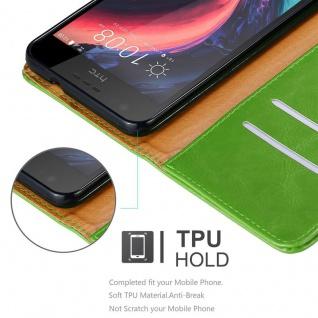 Cadorabo Hülle für HTC Desire 10 Lifestyle / Desire 825 in GRAS GRÜN - Handyhülle mit Magnetverschluss, Standfunktion und Kartenfach - Case Cover Schutzhülle Etui Tasche Book Klapp Style - Vorschau 3