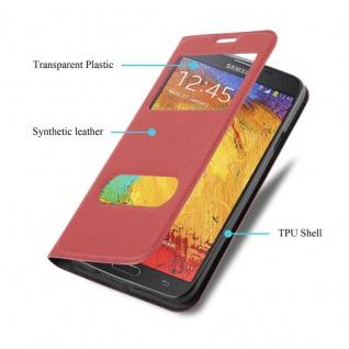 Cadorabo Hülle für Samsung Galaxy NOTE 3 NEO in SAFRAN ROT ? Handyhülle mit Magnetverschluss, Standfunktion und 2 Sichtfenstern ? Case Cover Schutzhülle Etui Tasche Book Klapp Style - Vorschau 3