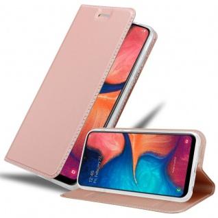 Cadorabo Hülle für Samsung Galaxy A20e in CLASSY ROSÉ GOLD - Handyhülle mit Magnetverschluss, Standfunktion und Kartenfach - Case Cover Schutzhülle Etui Tasche Book Klapp Style
