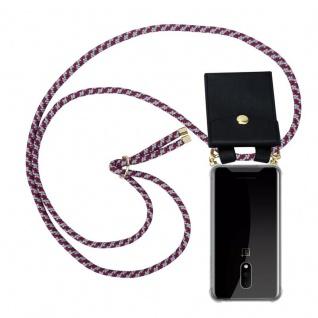 Cadorabo Handy Kette für OnePlus 7 in ROT WEISS Silikon Necklace Umhänge Hülle mit Gold Ringen, Kordel Band Schnur und abnehmbarem Etui Schutzhülle