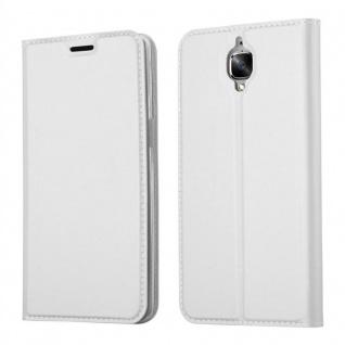 Cadorabo Hülle für OnePlus 3 / 3T in CLASSY SILBER - Handyhülle mit Magnetverschluss, Standfunktion und Kartenfach - Case Cover Schutzhülle Etui Tasche Book Klapp Style