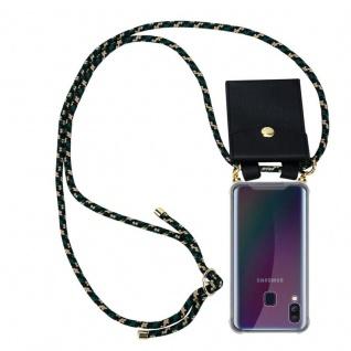 Cadorabo Handy Kette für Samsung Galaxy A40 in CAMOUFLAGE Silikon Necklace Umhänge Hülle mit Gold Ringen, Kordel Band Schnur und abnehmbarem Etui Schutzhülle