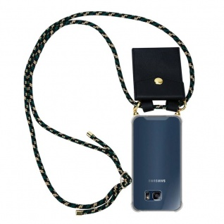 Cadorabo Handy Kette für Samsung Galaxy S6 EDGE in CAMOUFLAGE ? Silikon Necklace Umhänge Hülle mit Gold Ringen, Kordel Band Schnur und abnehmbarem Etui ? Schutzhülle