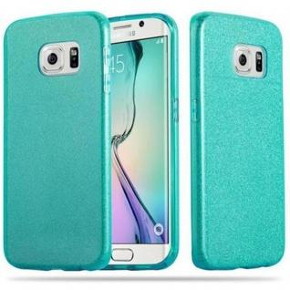 Cadorabo Hülle für Samsung Galaxy S6 EDGE - Hülle in STERNENSTAUB TÜRKIS ? TPU Silikon und Hardcase Handyhülle im Glitzer Design - Hard Case TPU Silikon Schutzhülle
