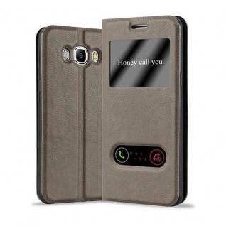 Cadorabo Hülle für Samsung Galaxy J7 2016 in STEIN BRAUN ? Handyhülle mit Magnetverschluss, Standfunktion und 2 Sichtfenstern ? Case Cover Schutzhülle Etui Tasche Book Klapp Style