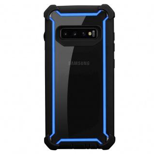 Cadorabo Hülle für Samsung Galaxy S10 PLUS in BLAU SCHWARZ - 2-in-1 Handyhülle mit TPU Silikon-Rand und Acryl-Glas-Rücken - Schutzhülle Hybrid Hardcase Back Case - Vorschau 3