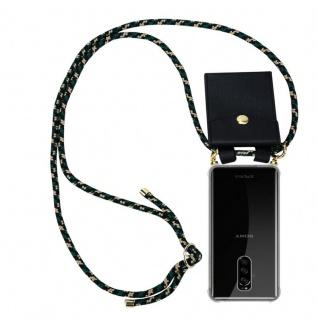 Cadorabo Handy Kette für Sony Xperia 1 in CAMOUFLAGE Silikon Necklace Umhänge Hülle mit Gold Ringen, Kordel Band Schnur und abnehmbarem Etui Schutzhülle