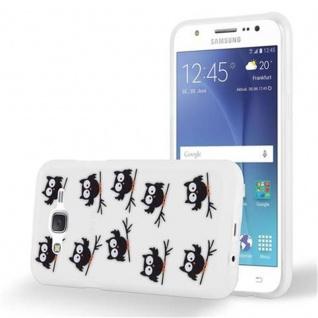 Cadorabo Hülle für Samsung Galaxy J5 2015 - Hülle im Design EULE BLACKY ? Handyhülle aus TPU Silikon mit Aufdruck - Silikonhülle Schutzhülle Ultra Slim Soft Back Cover Case Bumper