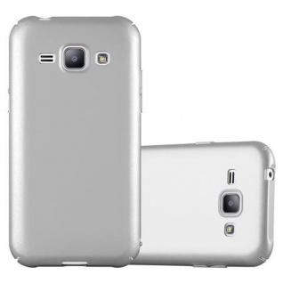 Cadorabo Hülle für Samsung Galaxy J1 2015 in METALL SILBER - Hardcase Handyhülle aus Plastik gegen Kratzer und Stöße - Schutzhülle Bumper Ultra Slim Back Case Hard Cover