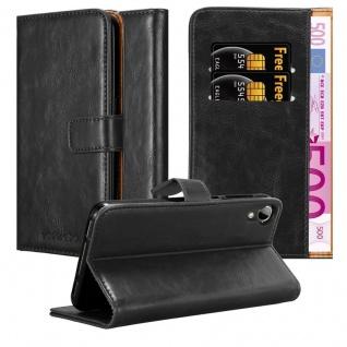 Cadorabo Hülle für HTC Desire 10 Lifestyle / Desire 825 in GRAPHIT SCHWARZ - Handyhülle mit Magnetverschluss, Standfunktion und Kartenfach - Case Cover Schutzhülle Etui Tasche Book Klapp Style