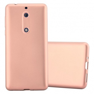 Cadorabo Hülle für Nokia 5 2017 in METALLIC ROSE GOLD Handyhülle aus flexiblem TPU Silikon Silikonhülle Schutzhülle Ultra Slim Soft Back Cover Case Bumper