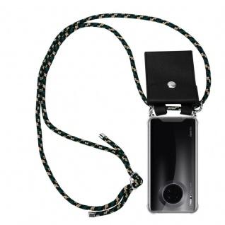 Cadorabo Handy Kette für Huawei MATE 30 in CAMOUFLAGE Silikon Necklace Umhänge Hülle mit Silber Ringen, Kordel Band Schnur und abnehmbarem Etui Schutzhülle
