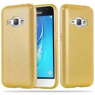 Cadorabo Hülle für Samsung Galaxy J1 2016 (6) - Hülle in STERNENSTAUB GOLD - TPU Silikon und Hardcase Handyhülle im Glitzer Design - Hard Case TPU Silikon Schutzhülle