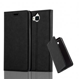 Cadorabo Hülle für Huawei Y6 2017 in NACHT SCHWARZ Handyhülle mit Magnetverschluss, Standfunktion und Kartenfach Case Cover Schutzhülle Etui Tasche Book Klapp Style
