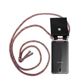 Cadorabo Handy Kette für Samsung Galaxy NOTE 3 in COLORFUL PARROT - Silikon Necklace Umhänge Hülle mit Silber Ringen, Kordel Band Schnur und abnehmbarem Etui - Schutzhülle