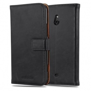 Cadorabo Hülle für Nokia Lumia 1320 in GRAPHIT SCHWARZ - Handyhülle mit Magnetverschluss, Standfunktion und Kartenfach - Case Cover Schutzhülle Etui Tasche Book Klapp Style