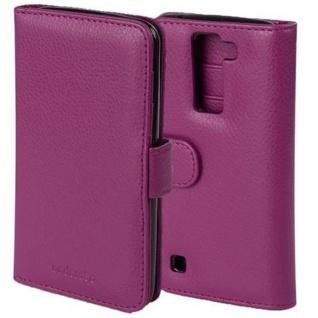 Cadorabo Hülle für LG K8 2016 in BORDEAUX LILA Handyhülle mit Magnetverschluss und 3 Kartenfächern Case Cover Schutzhülle Etui Tasche Book Klapp Style