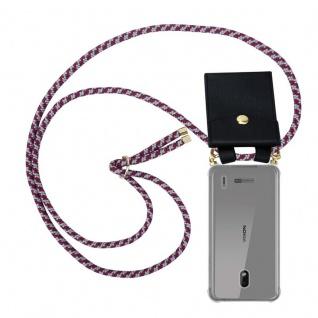 Cadorabo Handy Kette für Nokia 2.2 in ROT WEISS Silikon Necklace Umhänge Hülle mit Gold Ringen, Kordel Band Schnur und abnehmbarem Etui Schutzhülle