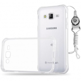 Cadorabo Hülle für Samsung Galaxy J5 2015 - Hülle in KOMPLETT TRANSPARENT ? Handyhülle aus TPU Silikon mit Schlaufe im Small Waist Design - Silikonhülle Schutzhülle Ultra Slim Soft Back Cover Case Bumper
