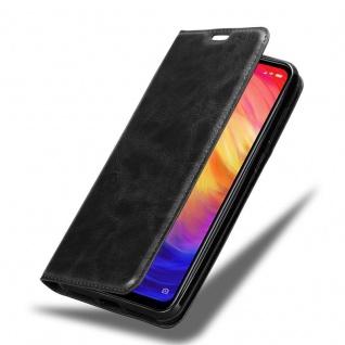Cadorabo Hülle für Xiaomi RedMi NOTE 7 in NACHT SCHWARZ - Handyhülle mit Magnetverschluss, Standfunktion und Kartenfach - Case Cover Schutzhülle Etui Tasche Book Klapp Style