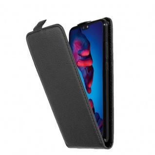 Cadorabo Hülle für Huawei P20 in OXID SCHWARZ Handyhülle im Flip Design aus strukturiertem Kunstleder Case Cover Schutzhülle Etui Tasche Book Klapp Style