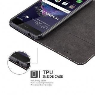 Cadorabo Hülle für Huawei P8 LITE 2017 in SCHWARZ BRAUN ? Handyhülle mit Magnetverschluss, Standfunktion und Kartenfach ? Case Cover Schutzhülle Etui Tasche Book Klapp Style - Vorschau 3