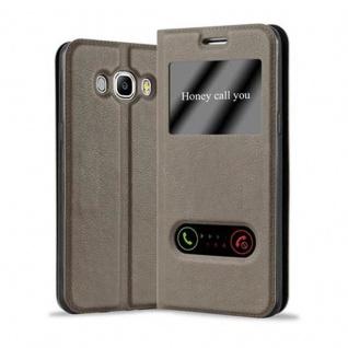 Cadorabo Hülle für Samsung Galaxy J5 2016 in STEIN BRAUN ? Handyhülle mit Magnetverschluss, Standfunktion und 2 Sichtfenstern ? Case Cover Schutzhülle Etui Tasche Book Klapp Style