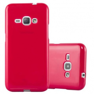 Cadorabo Hülle für Samsung Galaxy J1 2015 in JELLY ROT - Handyhülle aus flexiblem TPU Silikon - Silikonhülle Schutzhülle Ultra Slim Soft Back Cover Case Bumper