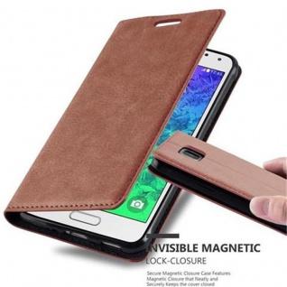 Cadorabo Hülle für Samsung Galaxy ALPHA in CAPPUCCINO BRAUN - Handyhülle mit Magnetverschluss, Standfunktion und Kartenfach - Case Cover Schutzhülle Etui Tasche Book Klapp Style