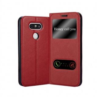 Cadorabo Hülle für LG G5 in SAFRAN ROT ? Handyhülle mit Magnetverschluss, Standfunktion und 2 Sichtfenstern ? Case Cover Schutzhülle Etui Tasche Book Klapp Style