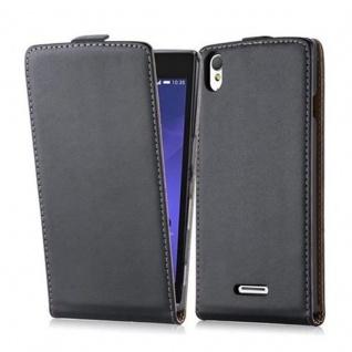 Cadorabo Hülle für Sony Xperia T3 in KAVIAR SCHWARZ - Handyhülle im Flip Design aus glattem Kunstleder - Case Cover Schutzhülle Etui Tasche Book Klapp Style