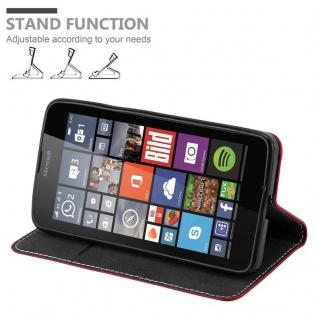 Cadorabo Hülle für Nokia Lumia 640 in ROT SCHWARZ ? Handyhülle mit Magnetverschluss, Standfunktion und Kartenfach ? Case Cover Schutzhülle Etui Tasche Book Klapp Style - Vorschau 4
