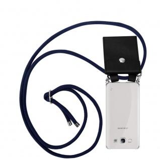 Cadorabo Handy Kette für Samsung Galaxy S3 / S3 NEO in TIEF BLAU Silikon Necklace Umhänge Hülle mit Silber Ringen, Kordel Band Schnur und abnehmbarem Etui Schutzhülle