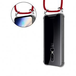 Cadorabo Handy Kette für OnePlus 6 in RUBIN ROT - Silikon Necklace Umhänge Hülle mit Silber Ringen, Kordel Band Schnur und abnehmbarem Etui - Schutzhülle - Vorschau 5
