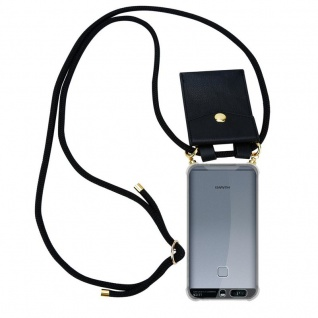 Cadorabo Handy Kette für Huawei P9 in SCHWARZ Silikon Necklace Umhänge Hülle mit Gold Ringen, Kordel Band Schnur und abnehmbarem Etui Schutzhülle