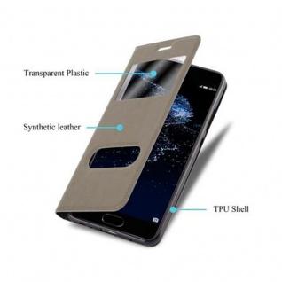 Cadorabo Hülle für Huawei P10 in STEIN BRAUN - Handyhülle mit Magnetverschluss, Standfunktion und 2 Sichtfenstern - Case Cover Schutzhülle Etui Tasche Book Klapp Style - Vorschau 3