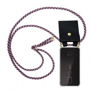 Cadorabo Handy Kette für Nokia 4.2 in ROT WEISS Silikon Necklace Umhänge Hülle mit Gold Ringen, Kordel Band Schnur und abnehmbarem Etui Schutzhülle