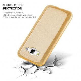 Cadorabo Hülle für Samsung Galaxy J5 2015 - Hülle in STERNENSTAUB GOLD ? TPU Silikon und Hardcase Handyhülle im Glitzer Design - Hard Case TPU Silikon Schutzhülle - Vorschau 2