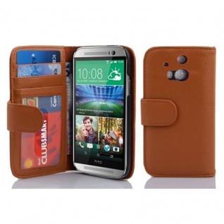 Cadorabo Hülle für HTC ONE M8 (2. Gen.) in COGNAC BRAUN ? Handyhülle mit Magnetverschluss und 3 Kartenfächern ? Case Cover Schutzhülle Etui Tasche Book Klapp Style