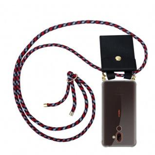 Cadorabo Handy Kette für Nokia 7 PLUS in ROT BLAU WEISS Silikon Necklace Umhänge Hülle mit Gold Ringen, Kordel Band Schnur und abnehmbarem Etui Schutzhülle