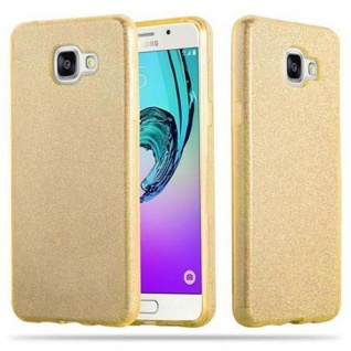 Cadorabo Hülle für Samsung Galaxy A3 2016 - Hülle in STERNENSTAUB GOLD ? TPU Silikon und Hardcase Handyhülle im Glitzer Design - Hard Case TPU Silikon Schutzhülle