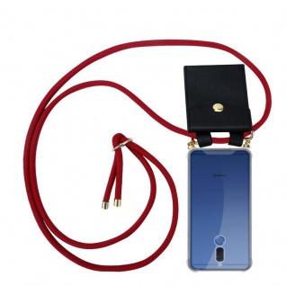 Cadorabo Handy Kette für Huawei MATE 10 LITE in RUBIN ROT - Silikon Necklace Umhänge Hülle mit Gold Ringen, Kordel Band Schnur und abnehmbarem Etui ? Schutzhülle